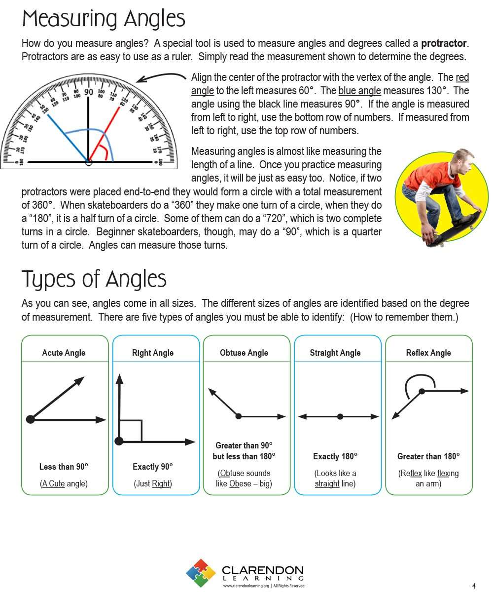 worksheet Types Of Angles Worksheet angles clarendon learning lesson plan worksheet