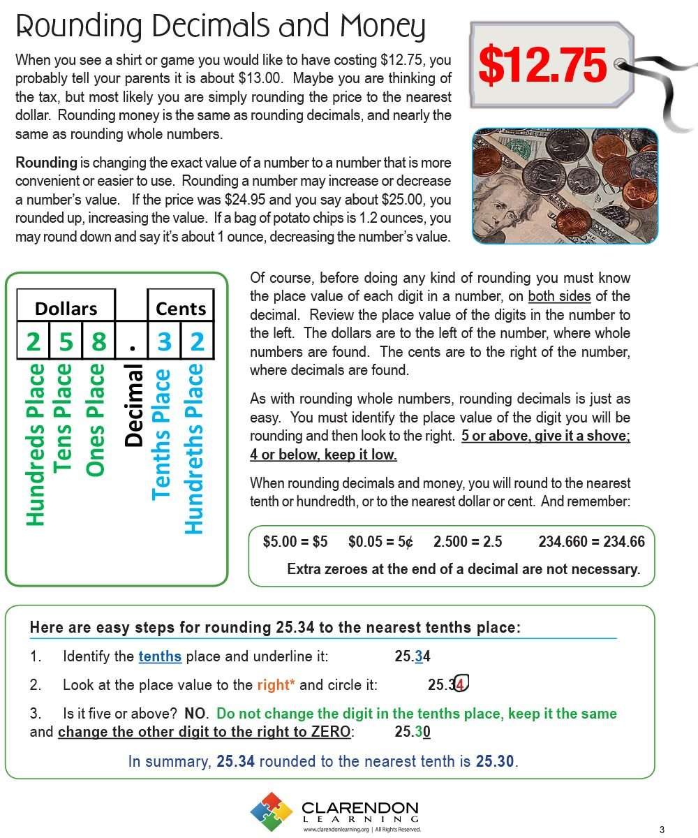 Rounding Decimals and Money Clarendon Learning – Decimals and Money Worksheets
