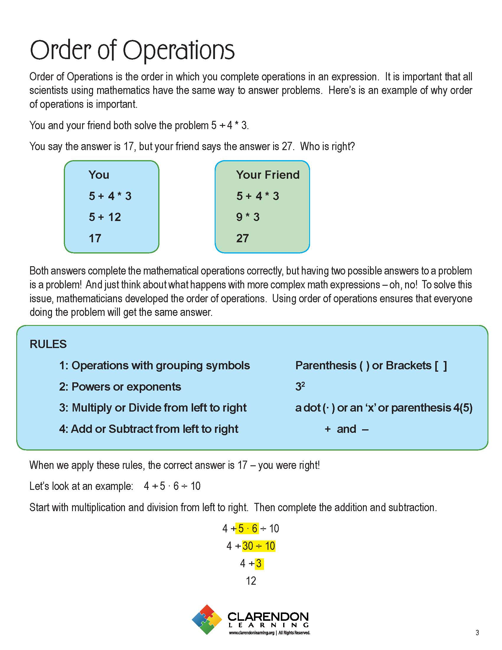 Order of operations lesson plan clarendon learning video resources donate now biocorpaavc Choice Image