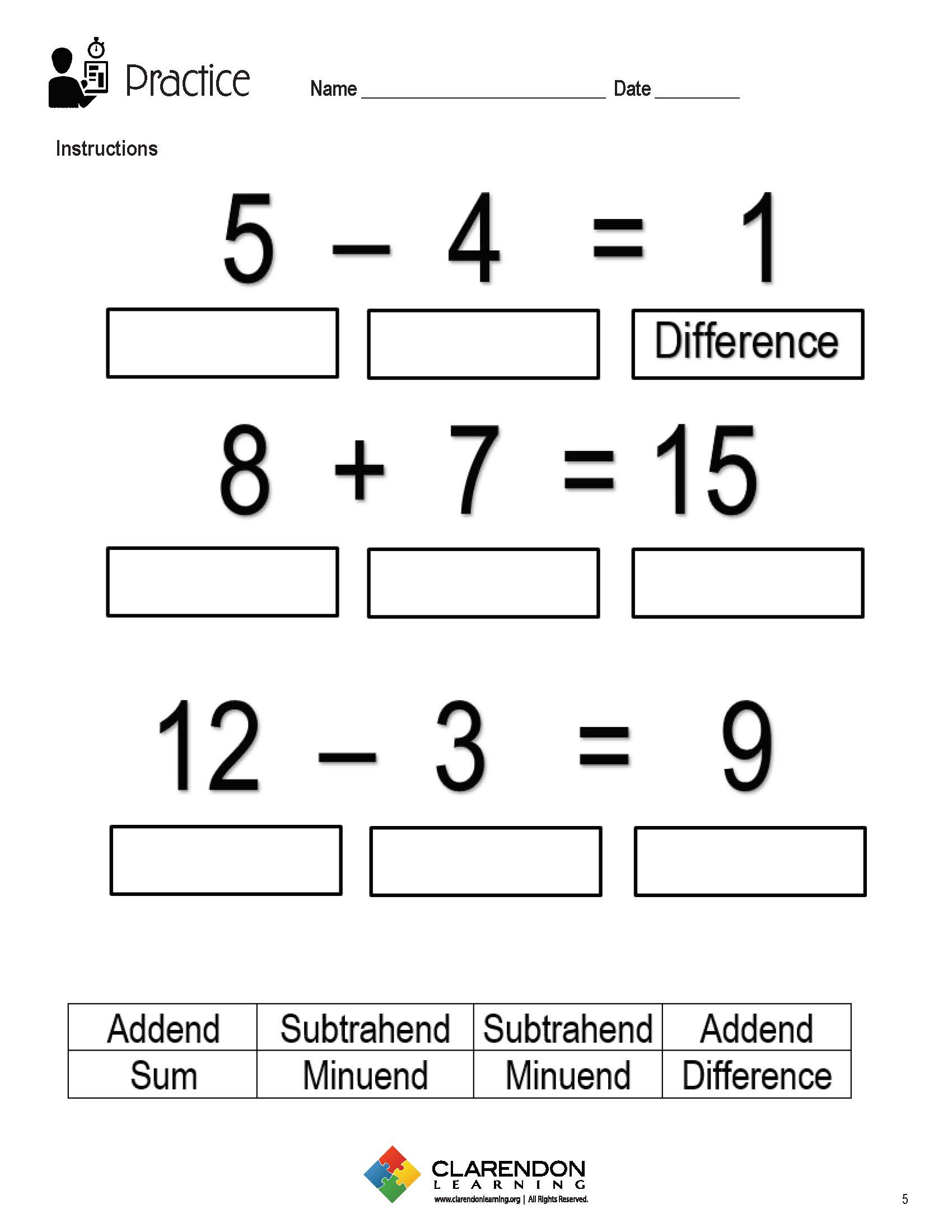 Addition and Subtraction Terms Lesson Plan | Clarendon Learning
