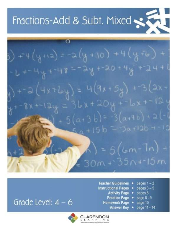 Adding and Subtracting Fractions Mixed Lesson Plan