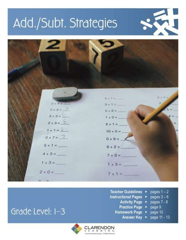 Addition/Subtraction Strategies Lesson Plan