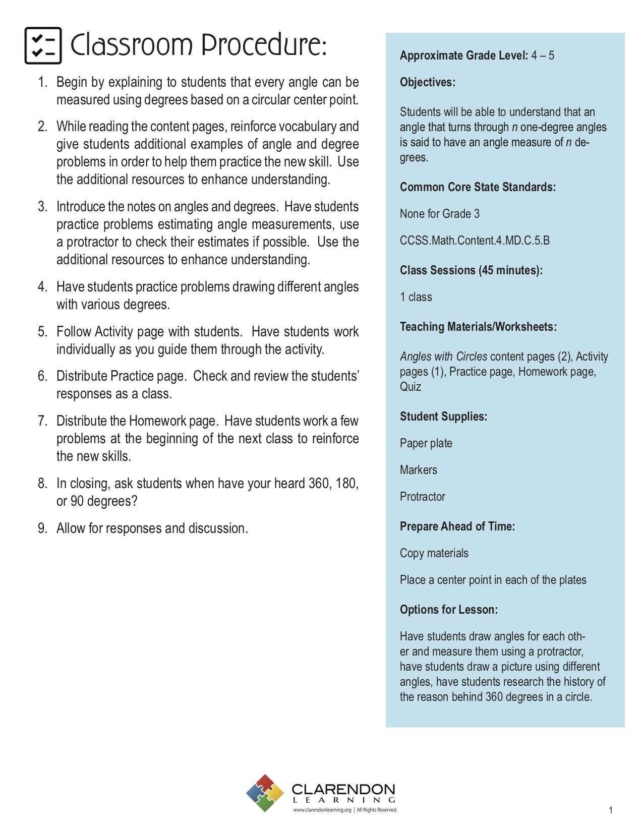 Angles and Degrees Lesson Plan | Clarendon Learning