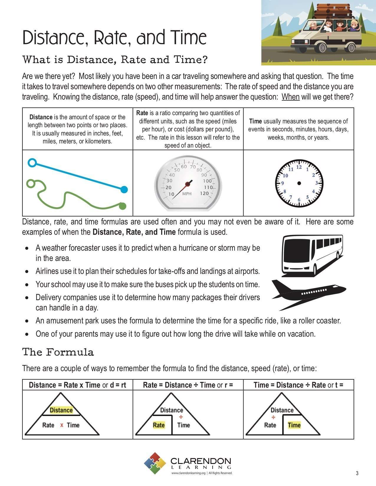 Distance, Rate, and Time Lesson Plan   Clarendon Learning