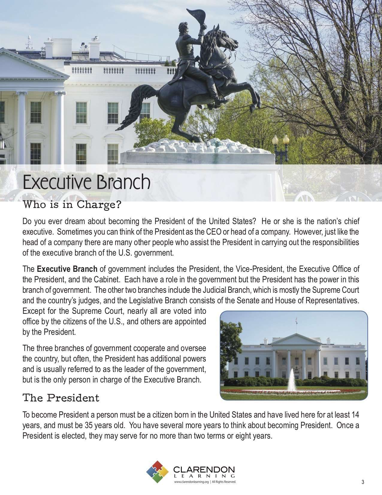 Executive Branch Lesson Plan Clarendon Learning