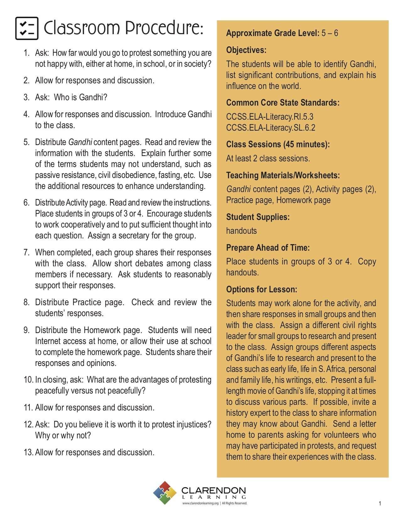 Gandhi Lesson Plan | Clarendon Learning