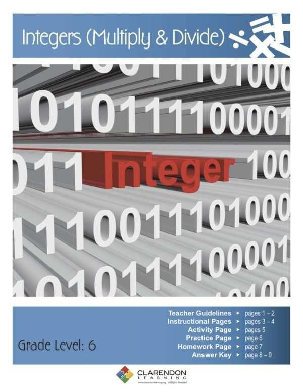 Integers (Multiply & Divide) Lesson Plan