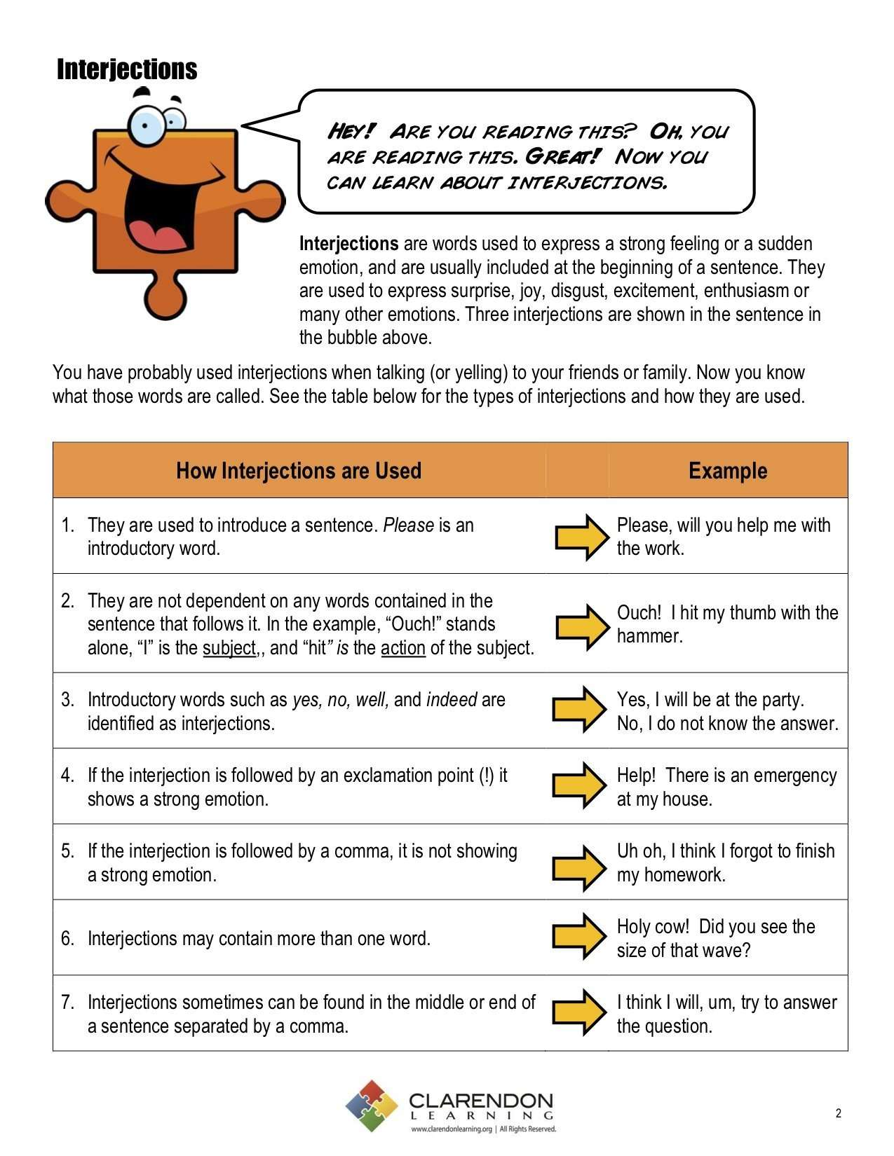 Interjections Lesson Plan Clarendon Learning