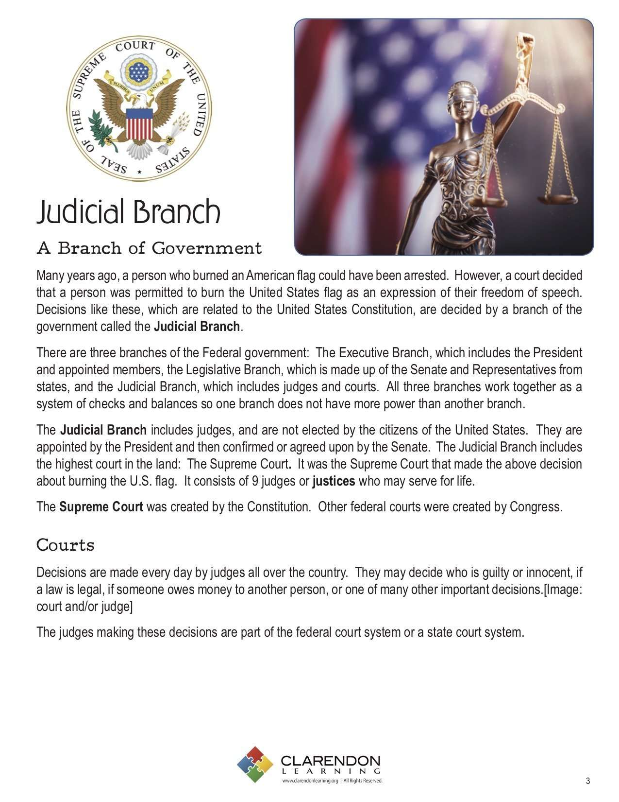 Judicial Branch Lesson Plan   Clarendon Learning