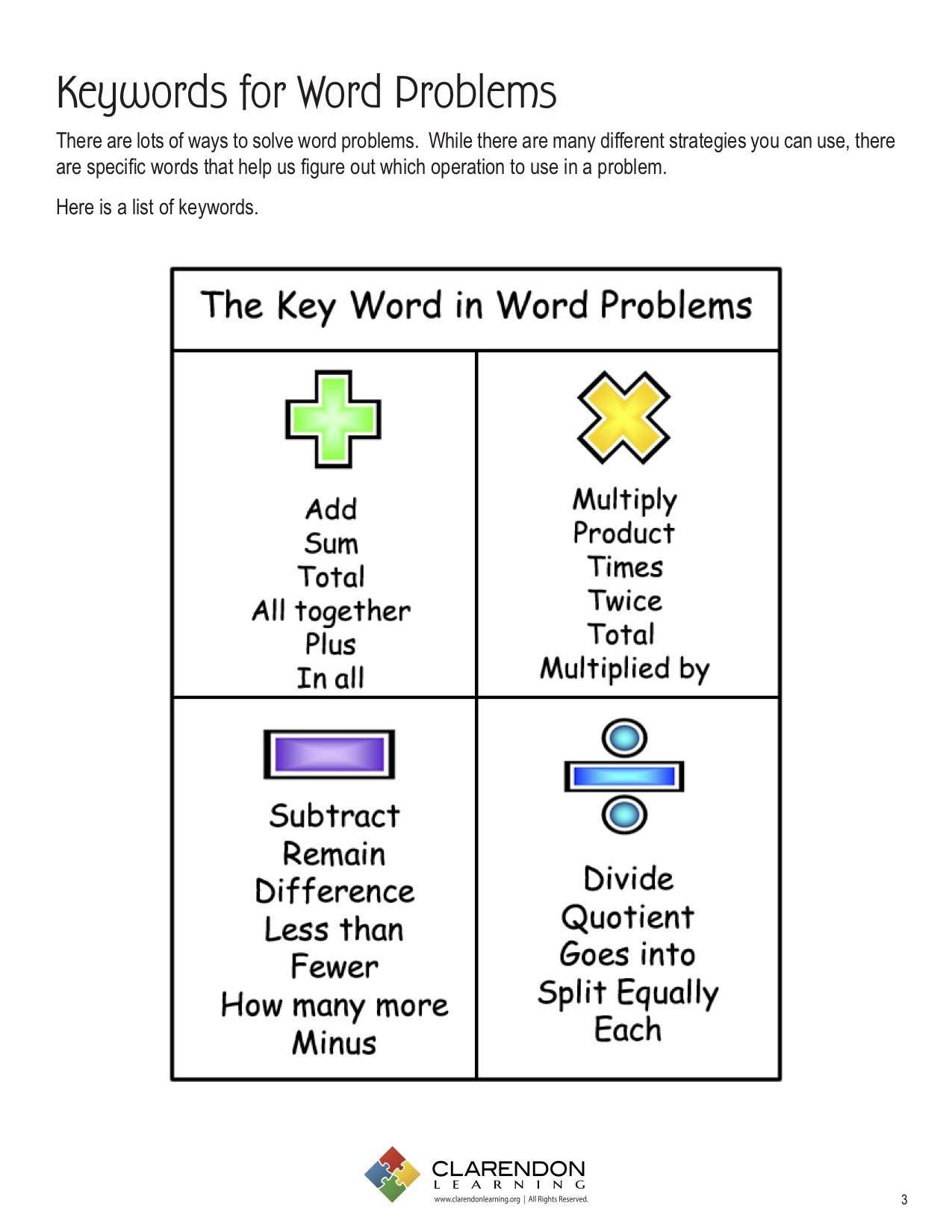 Keywords for Word Problems (Grades 1-3) Lesson Plan ...