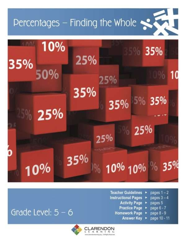 Percentages, Finding the Whole Lesson Plan