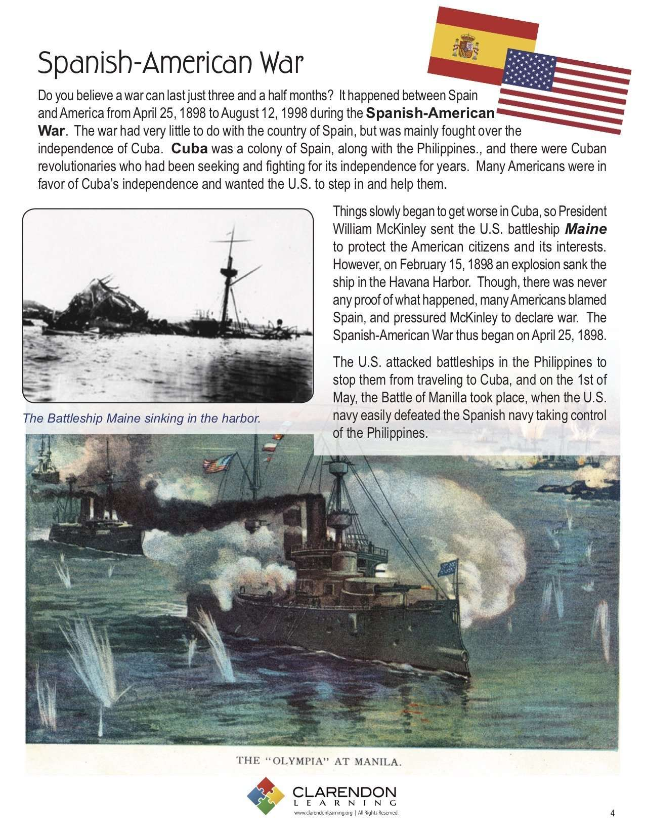 Spanish American War Lesson Plan Clarendon Learning