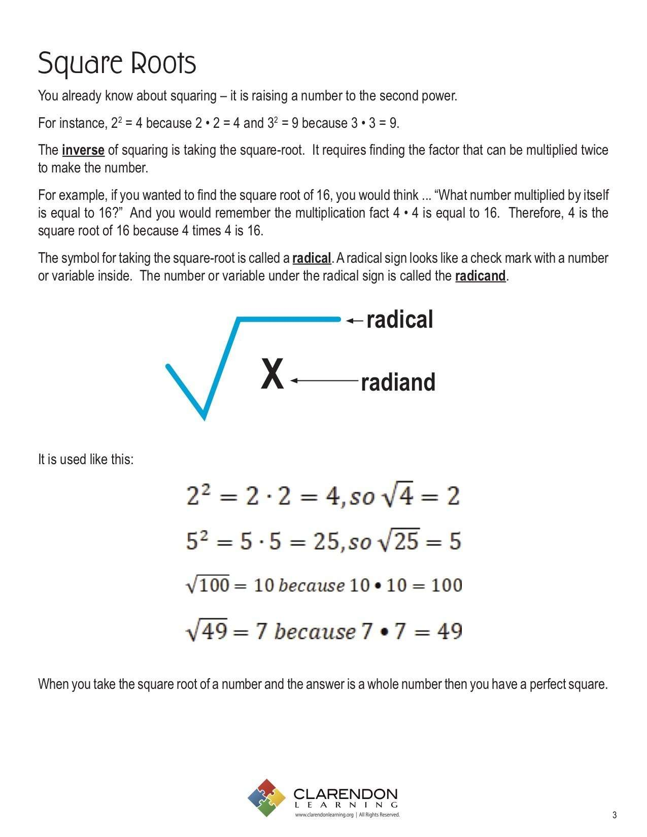 - Square Roots Lesson Plan Clarendon Learning