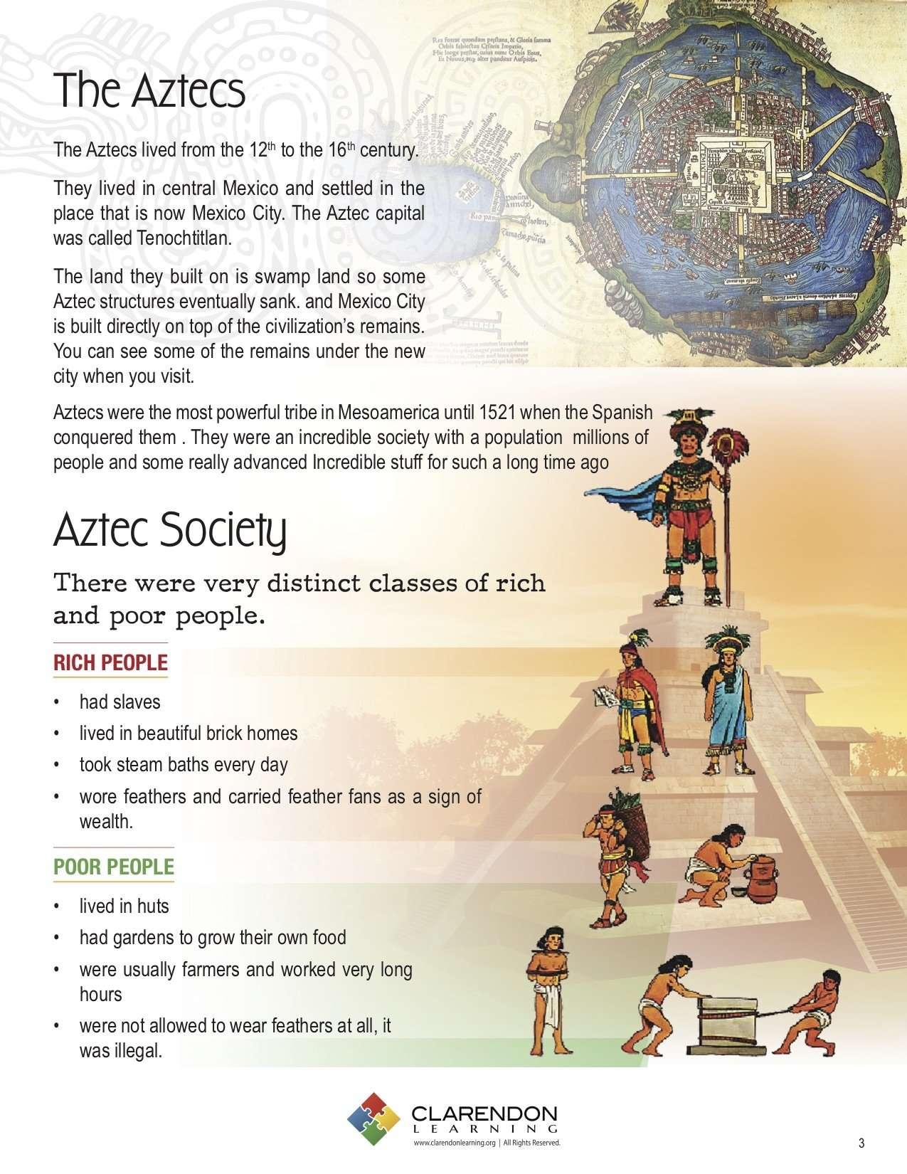 The Aztecs Lesson Plan Clarendon Learning
