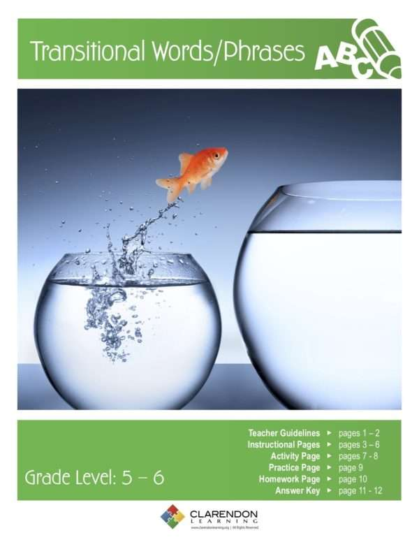 Transitional Words/Phrases Lesson Plan
