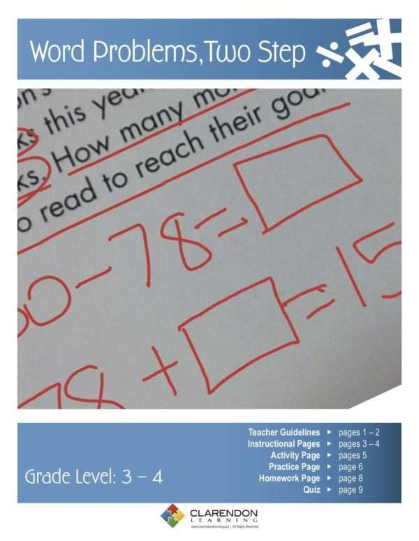 Word Problems, Two Step Lesson Plan