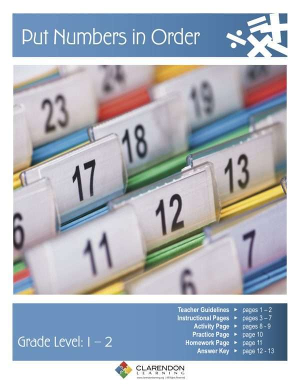Put Numbers in Order Lesson Plan
