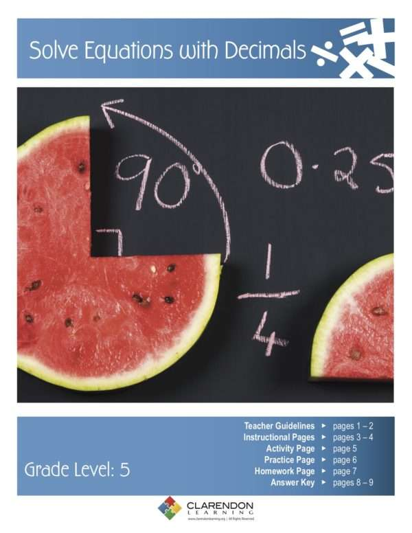 Solve Equations with Decimals Lesson Plan