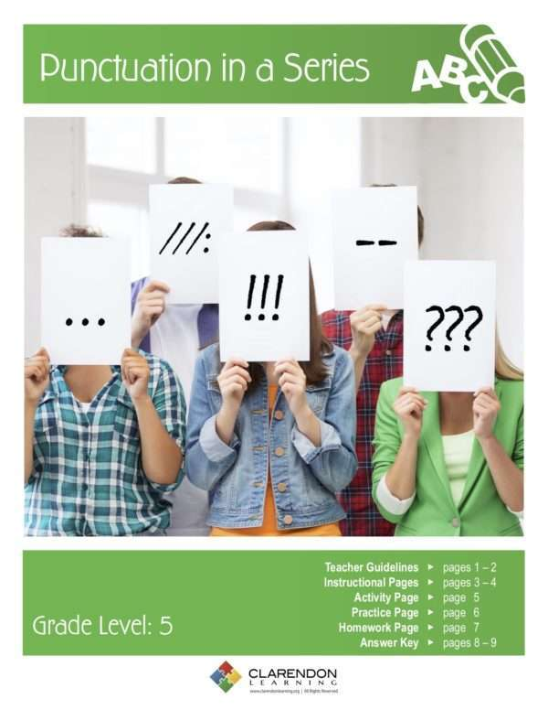 Punctuation in a Series Lesson Plan