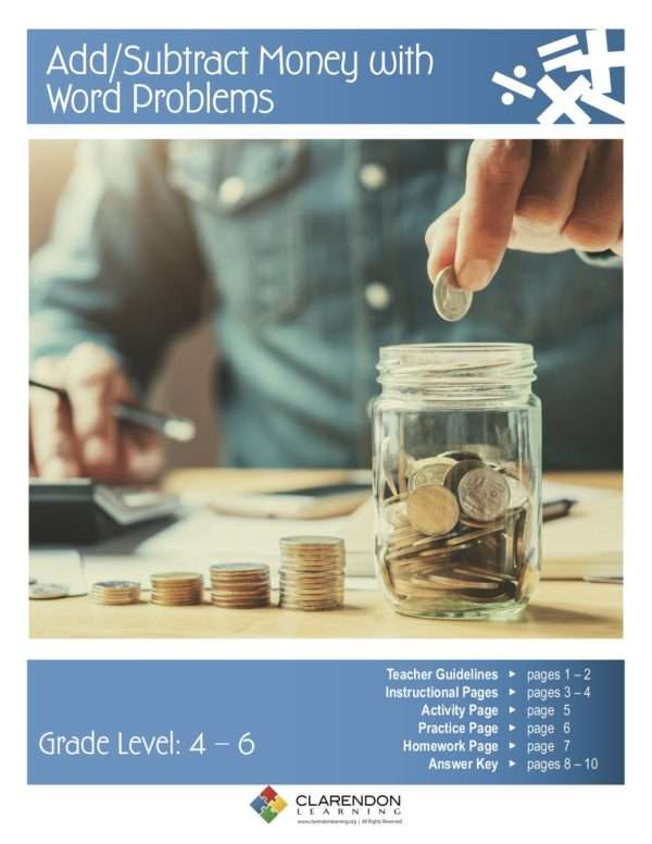 Add:Subtract Money with Word Problems Lesson Plan