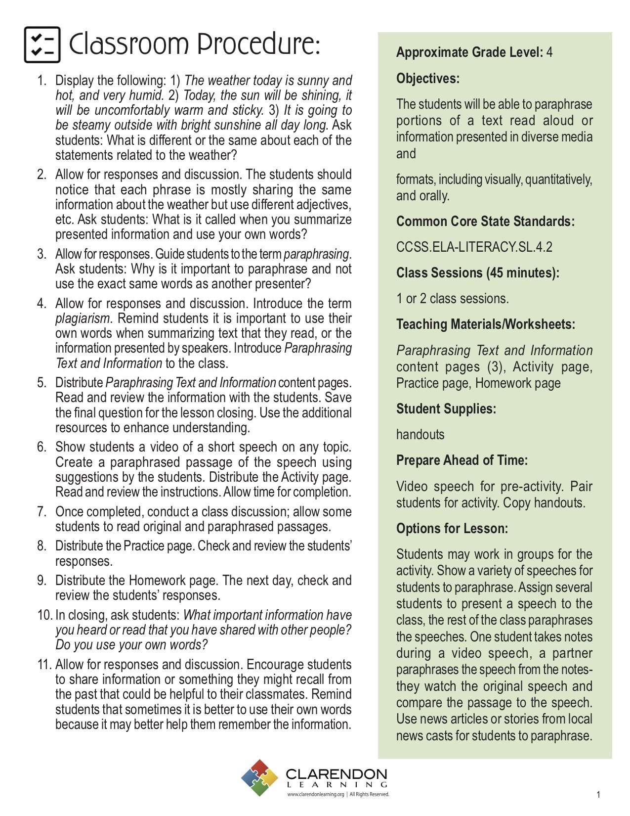 Paraphrasing Text And Information Lesson Plan Clarendon Learning Literacy Standard