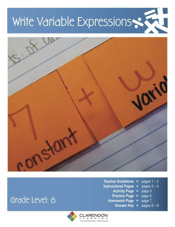 Write Variable Expressions Lesson Plan