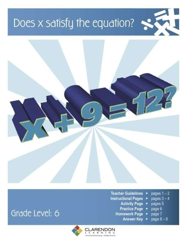 Does x satisfy the equation? Lesson Plan