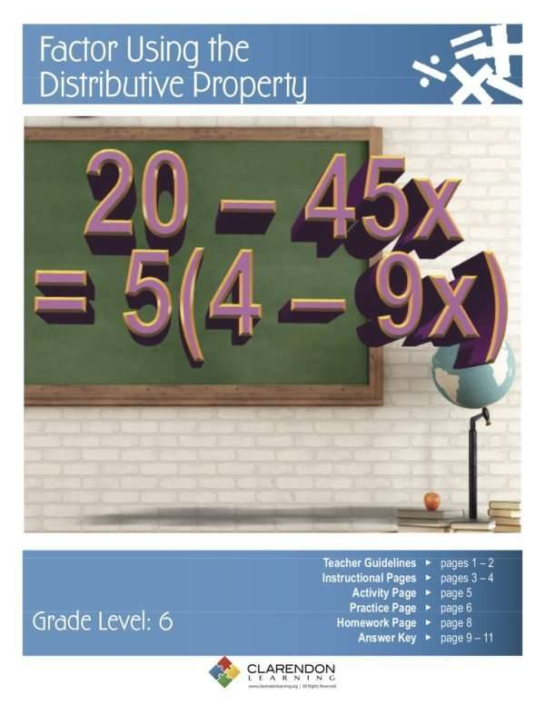 Factor Using the Distributive Property Lesson Plan