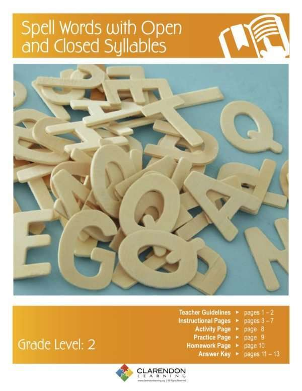 Spell Words with Open and Closed Syllables Lesson Plan