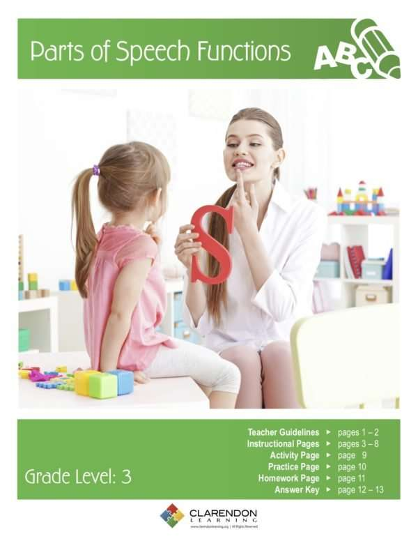 Parts of Speech Functions Lesson Plan