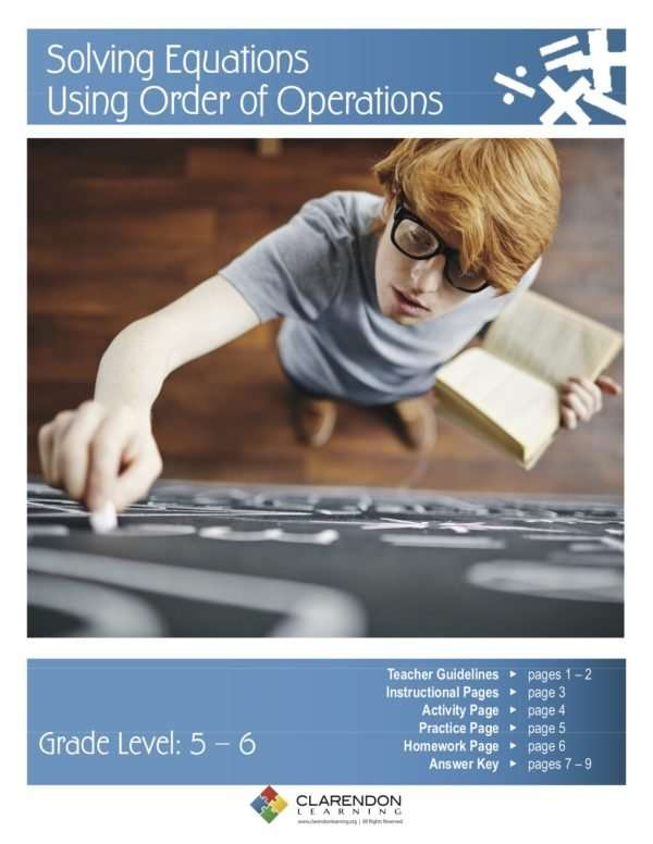 Solving Equations Using Order of Operations Lesson Plan