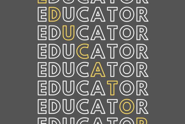 Gray and White Typographic Teacher Professional T Shirt (1)